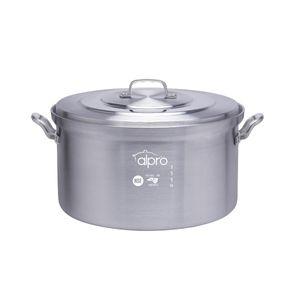 Media Olla vaporera de aluminio Alpro Silver Gourmet de 50cm con capacidad de 50 litros- 3550
